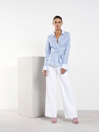 Chemise en coton à rayures - Aqua / blanc