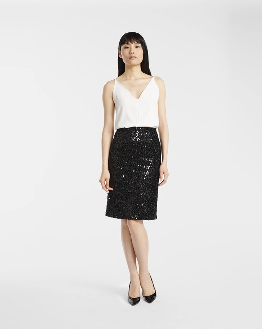 Sequinned lurex skirt - Noir