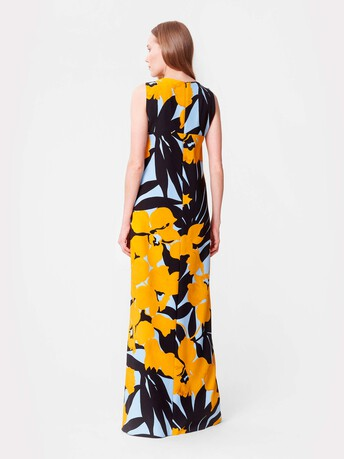 Robe longue en crêpe imprimée - Curcuma / noir
