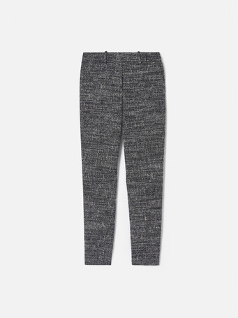 Pantalon droit en tweed chiné - Noir