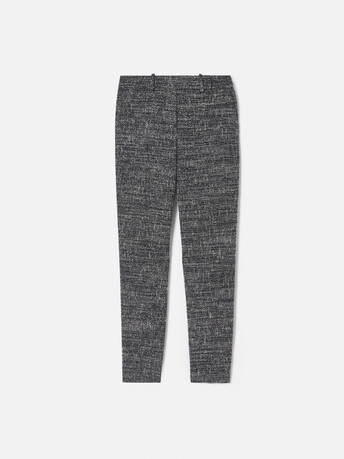 Pantalon droit en tweed chiné - Noir