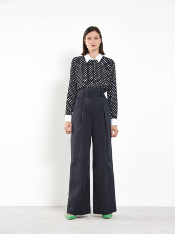 Pantalon large en coton - Noir