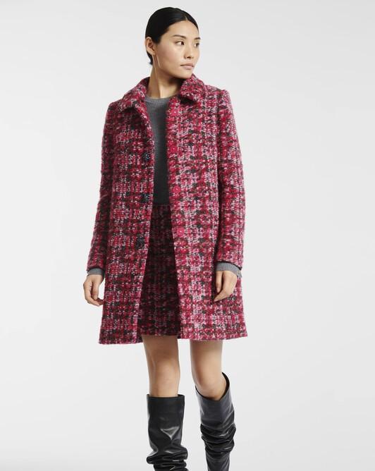 Manteau en tweed carreaux - Rose
