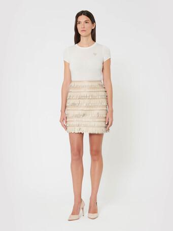 Short skirt in fringed lambskin leather - Pierre / blanc casse