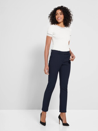 Pantalon en piqué de coton stretch - Encre