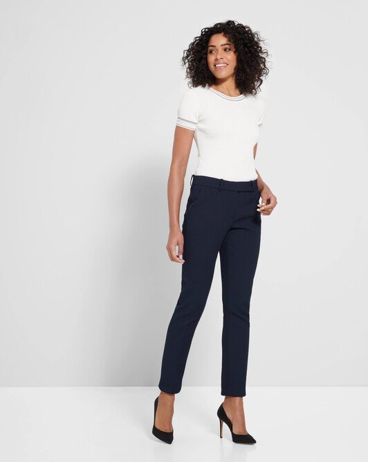 Stretch-cotton piqué pants - Encre