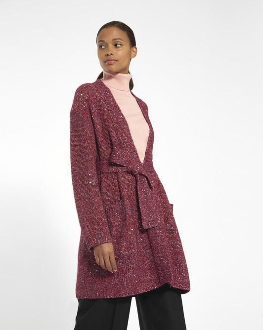 Manteau en fil fantaisie paillettes - Cranberry