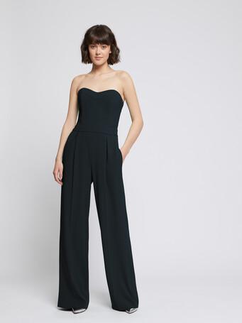 Strapless satin-back crepe jumpsuit - Noir