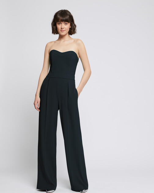 Strapless satin-back crepe jumpsuit