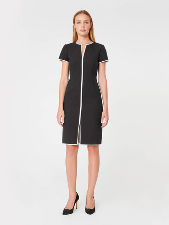 Two-tone cotton dress - Noir / sable
