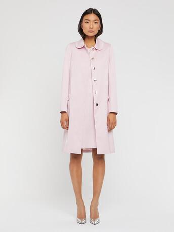 Manteau mi-long à col Claudine - Rose pale
