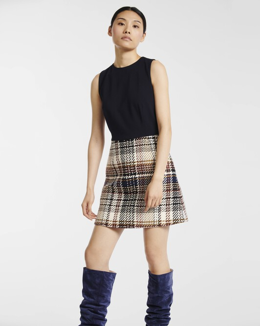 Prince of Wales checked cotton dress - brun / marine