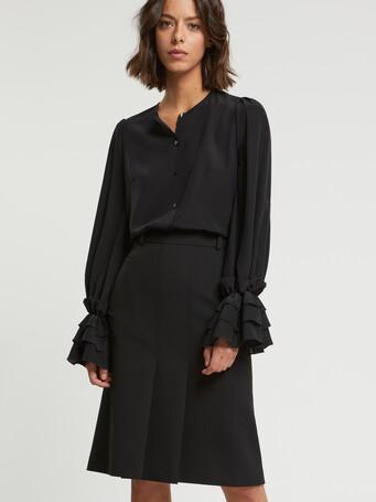 Jupe mi-longue en tricotine - Noir