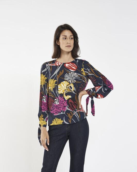 Floral print crepe top - multicolor