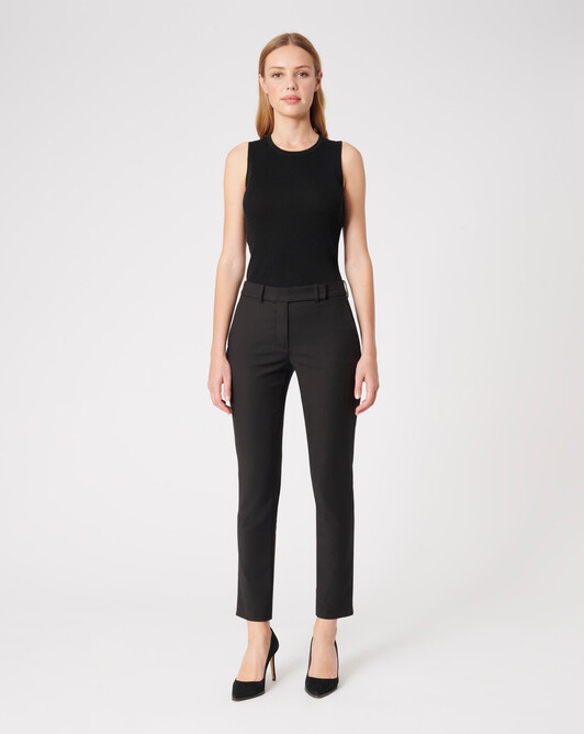 Satin-back crepe pants - Noir