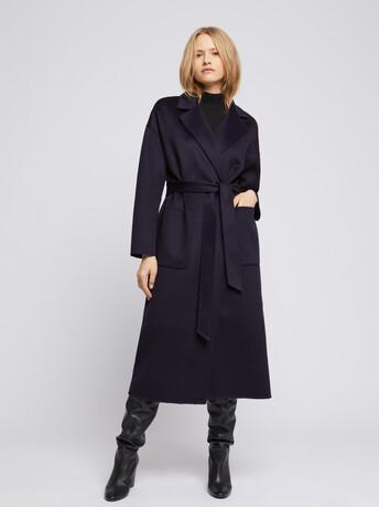 Manteau peignoir en laine et cachemire - Marine