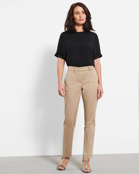 Cotton-gabardine pants - Beige