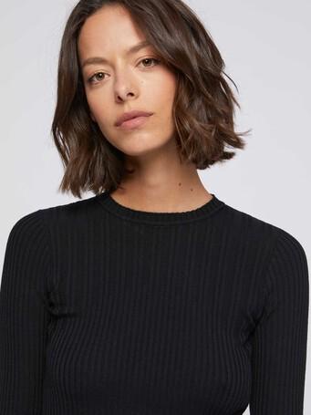 Pull côtelé en laine mérinos - Noir