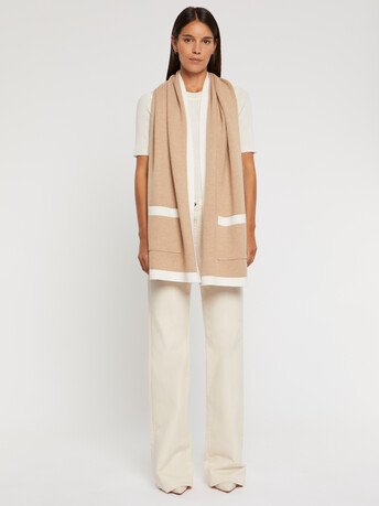 Wool and cashmere scarf - Off white / camel