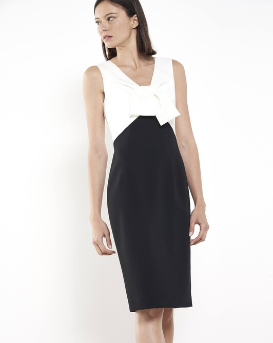 Satin-back crepe dress - Black / off white