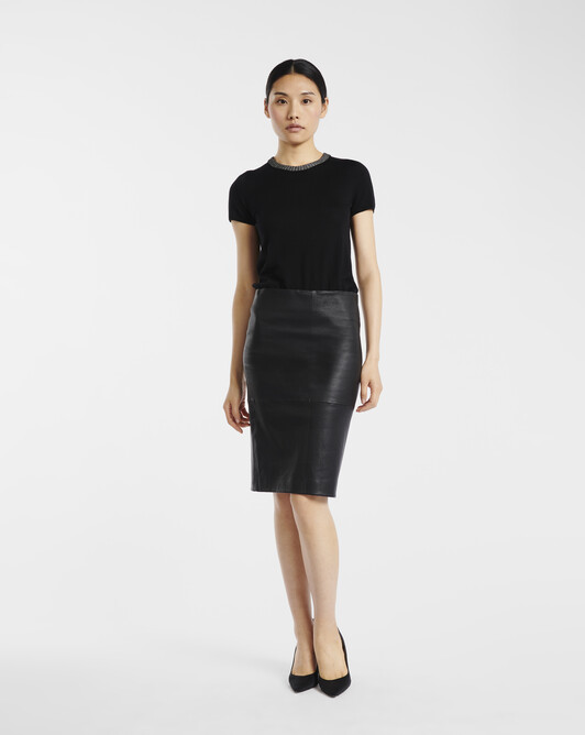 Stretch leather skirt (Online exclusive) - Noir