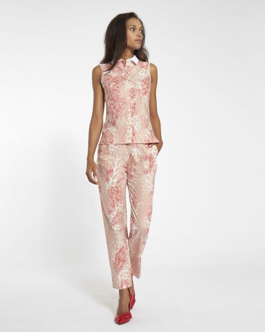 Shirt in leopard-print poplin - Blush