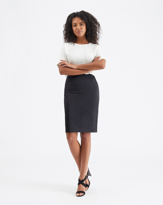 Satin-poplin skirt - Noir