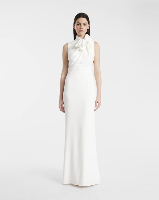 Gown in satin-back crepe - off white