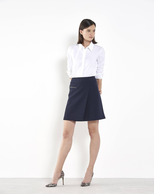 Stretch tricotine skirt - Navy blue