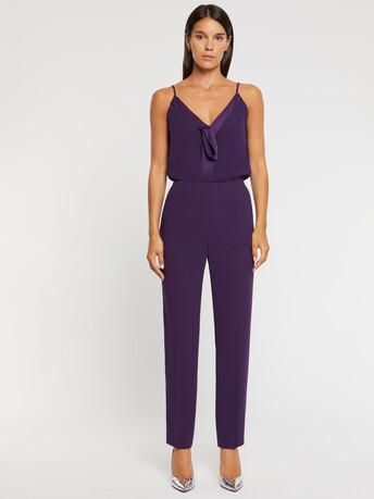 Pantalon droit en crêpe envers satin - Violet