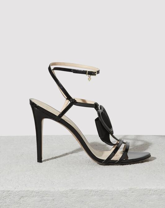 Sandales en cuir vernis - Noir