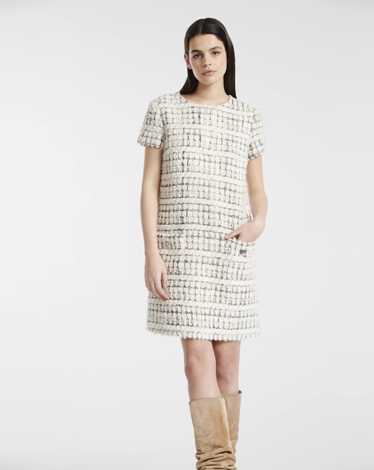 Silver and boucle tweed dress - Naturel / argent