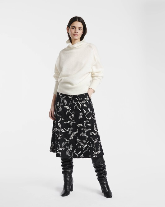 Embroidered wool skirt - Grey