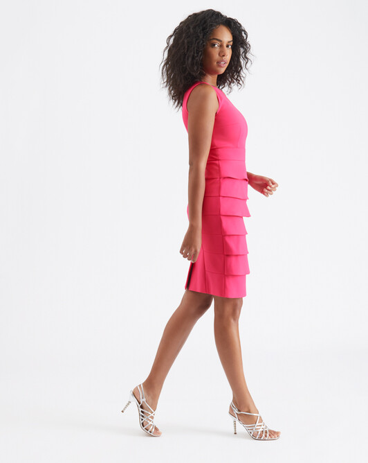 Cotton-tricotine dress - Pink
