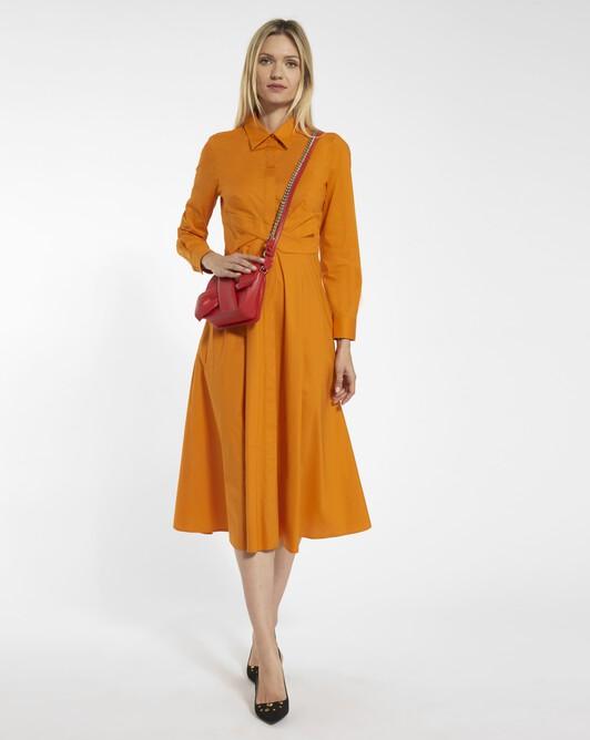 Robe en popeline de coton stretch - Mandarine