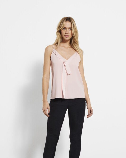 Satin-back crepe tank top - Rose pale