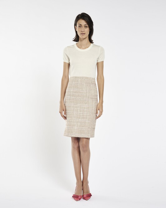 Lurex and velvet tweed skirt - Beige