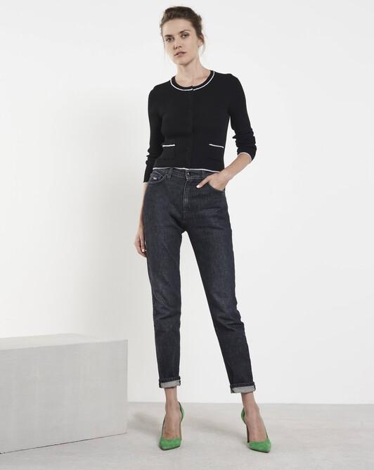 Merino wool classic cardigan - Black / off white