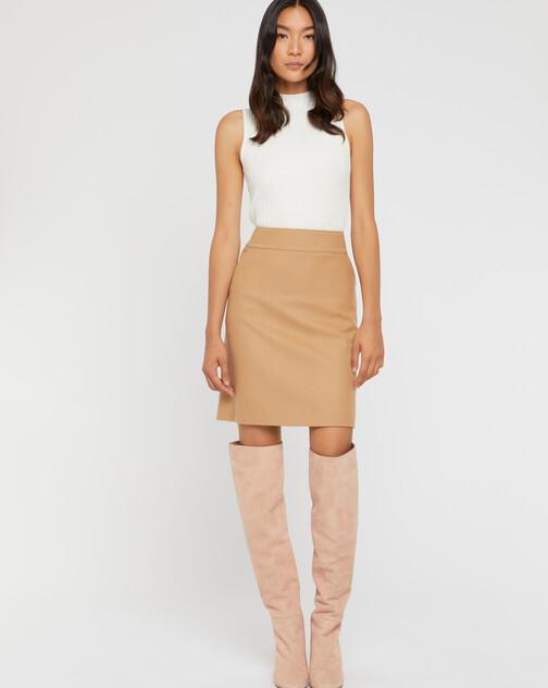 Mini-jupe droite en drap de laine