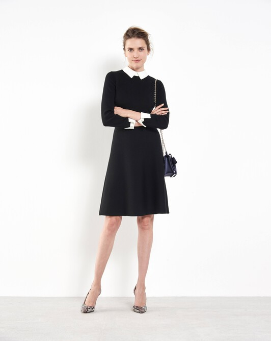 Merino wool midi dress - Noir / blanc