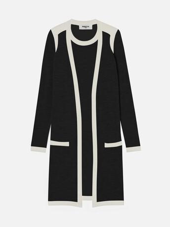 Robe en mérinos - Noir / naturel