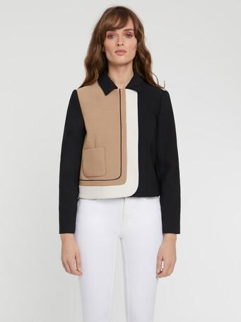 Veste courte graphique en tricotine stretch - Camel / noir