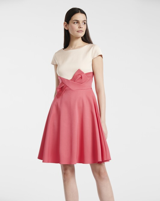Dress in ottoman stretch - Poudre / pink