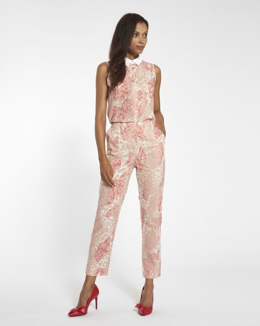 Panther print poplin trousers - Blush