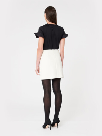 Stretch-tricotine skirt - Off white