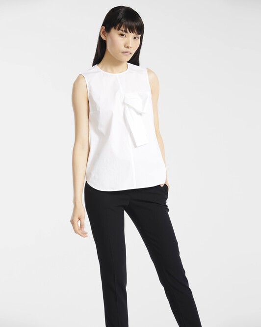 Top in stretch-cotton poplin - White