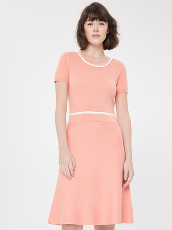 Wool and cashmere dress - Eau de rose / blanc casse