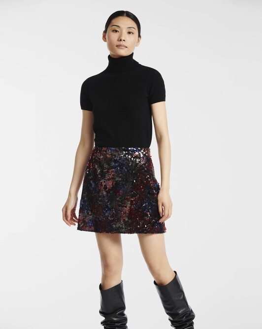 Flower-sequinned skirt - multicolor
