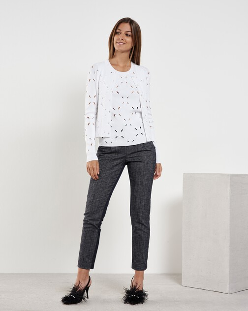 Pantalon droit en denim de coton