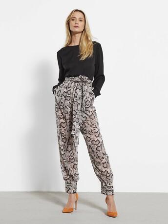 Python print chiffon trousers - Mastic